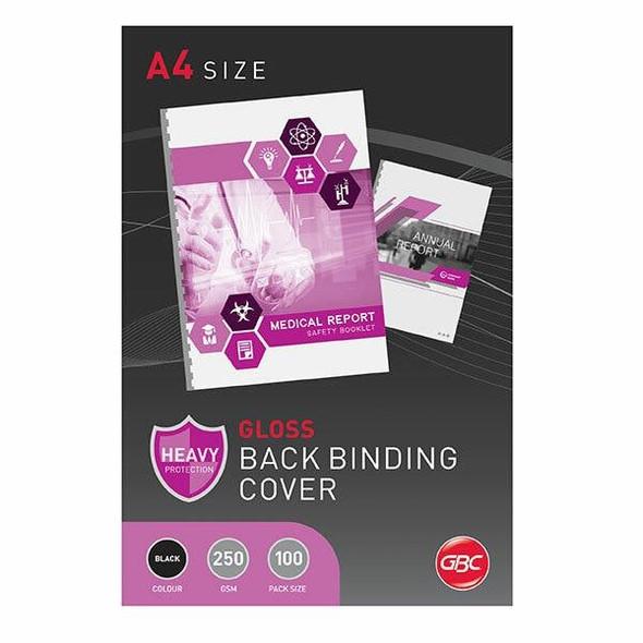 GBC Binding Cover A4 Gloss Black Pack100 BCG250BK100