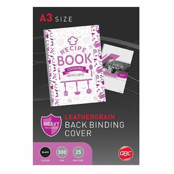 GBC Binding Cover A3 L/Grain Black Pack25 BCL300A3BK25