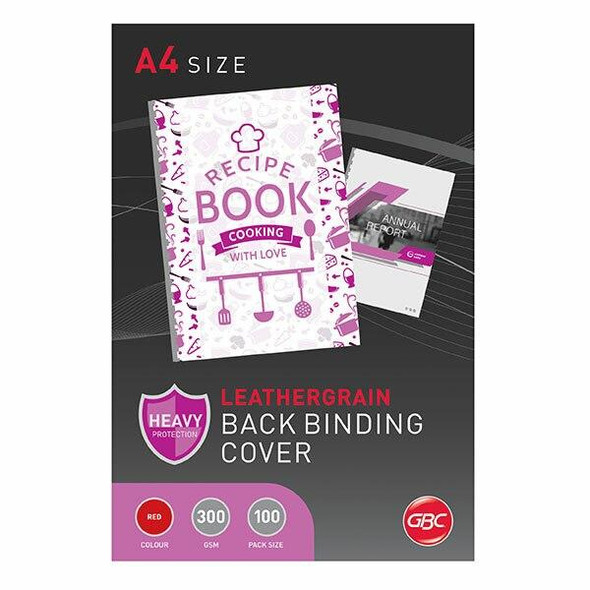 GBC Binding Cover A4 L/Grain Red Pack100 BCL300R100