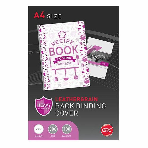 GBC Binding Cover A4 L/Grain White Pack100 BCL300W100