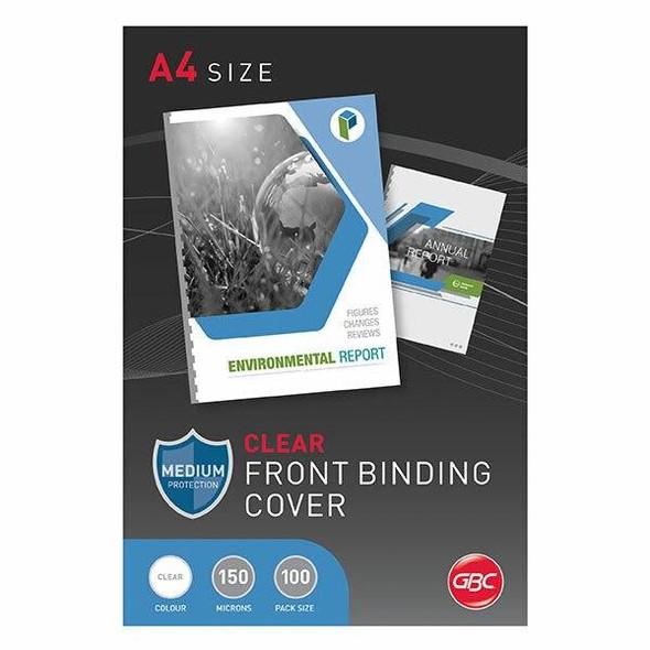 GBC Binding Cover A4 150 Micronron Clear Pack100 BCP15CLR100