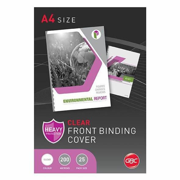 GBC Binding Cover A4 200 Micronron Clear Pack25 BCP20CLR25
