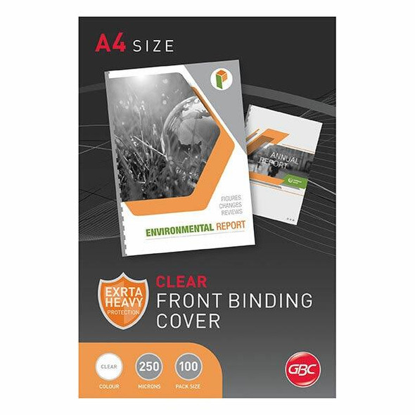 GBC Binding Cover A4 250 Micronron Clear Pack100 BCP25CLR100
