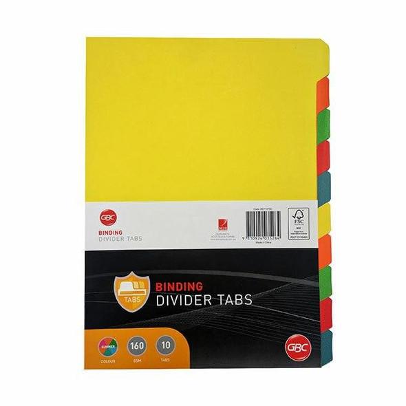 GBC Binding Tab Dividers A4 Colour Pack10 BCT10TSC