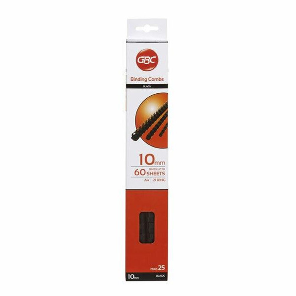 GBC Binding Comb 10mm Black Pack25 BEP10BK25