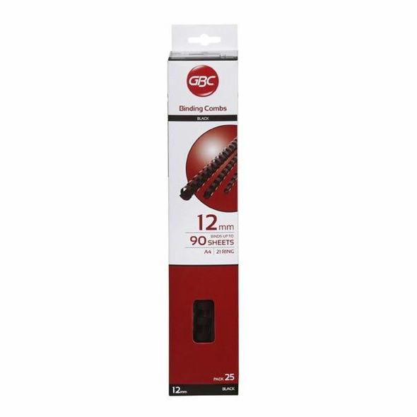 GBC Binding Comb 12mm Black Pack25 BEP12BK25