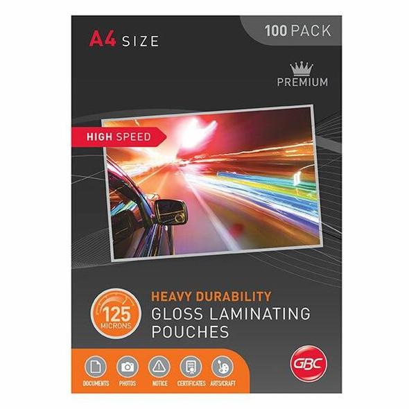 GBC Laminating Pouch A4 125 Micronron Pack100 H/Speed BL125MHSA4