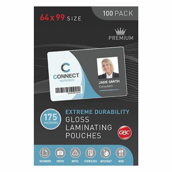 GBC Laminating Pouch 64x99mm 175 Micronron Pack100 BL175M64X99