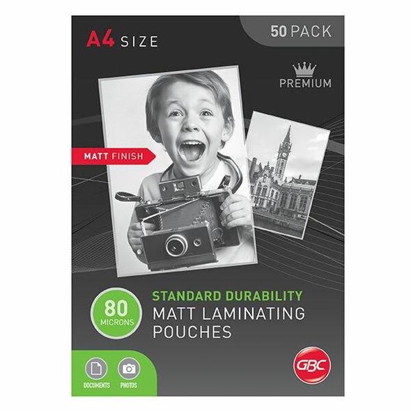 GBC Laminating Pouch A4 80 Micronron Pack50 Matt BL80MA4MATTPK50