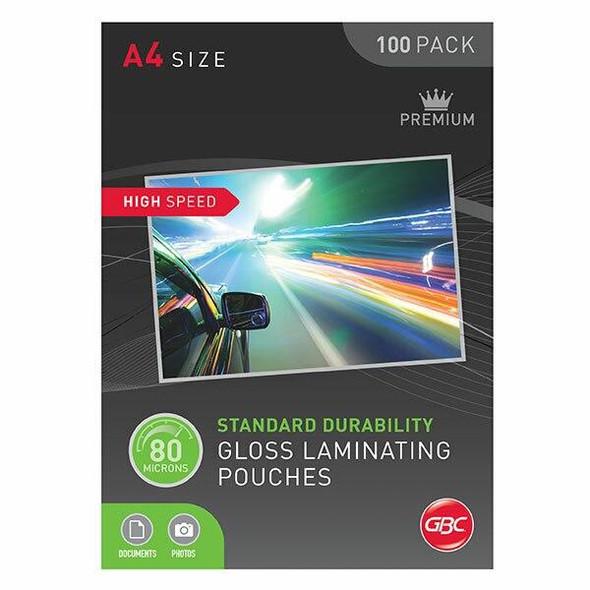 GBC Laminating Pouch A4 80 Micronron Pack100 H/Speed BL80MHSA4