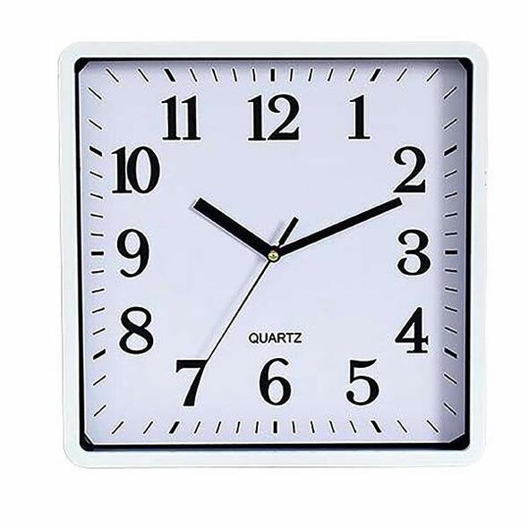 Carven Clock 250mm Square White Frame CL250FSWH