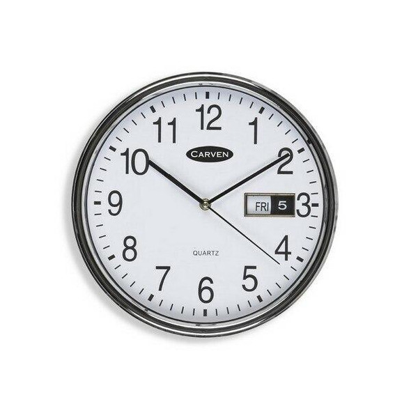 Carven Clock 285mm Silver Rim With Date CL285SDATE