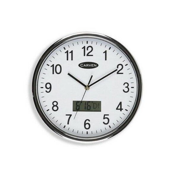 Carven Clock 285mm Silver Rim With Lcd Date CL285SLCD
