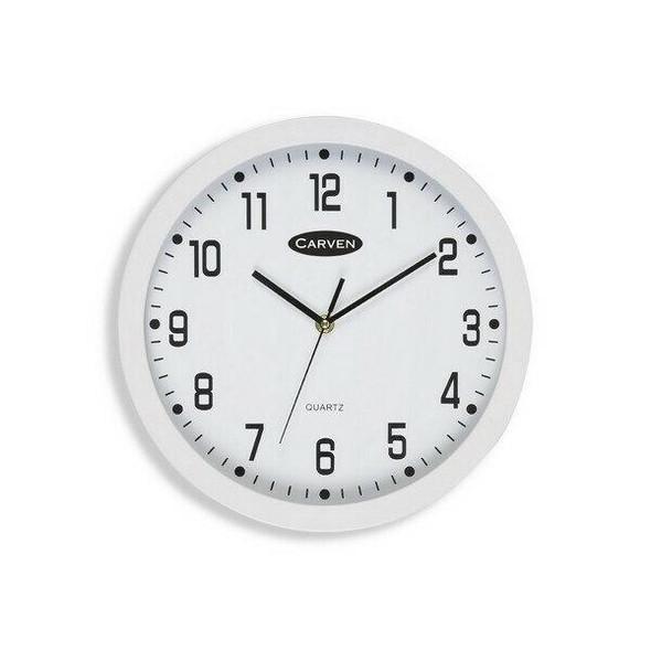 Carven Clock 300mm White Frame CL300WH