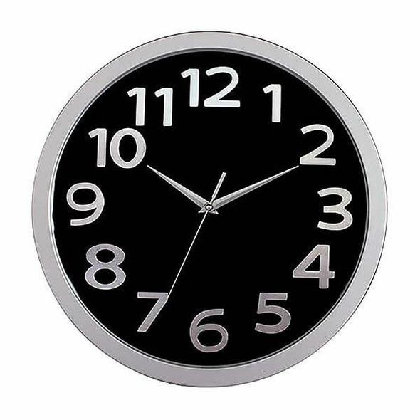 Carven Clock 330mm Silver Rim Black Face CL330FBLSL