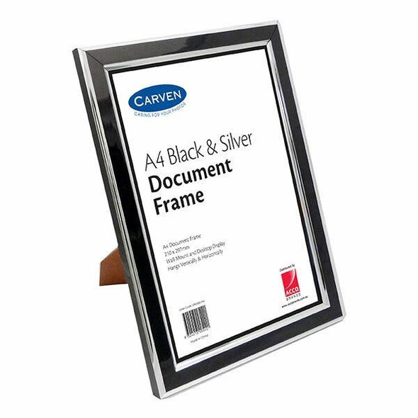 Carven Document Frame Black/Silver A4 X CARTON of 6 QFBLKSILVA4