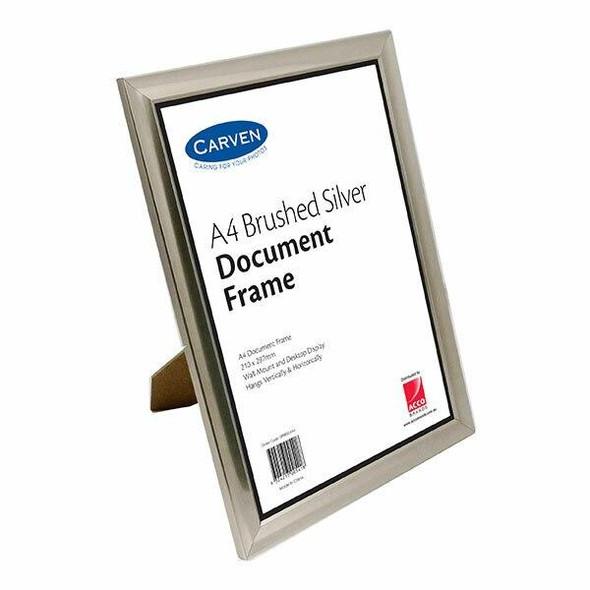 Carven Document Frame Brushed Silver A4 X CARTON of 6 QFBRSILVA4