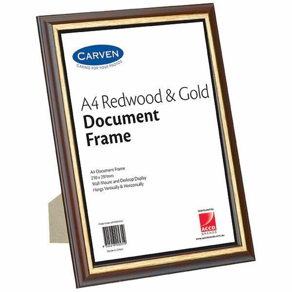 Carven Document Frame Redwood/Gold A4 X CARTON of 6 QFWDRDWA4