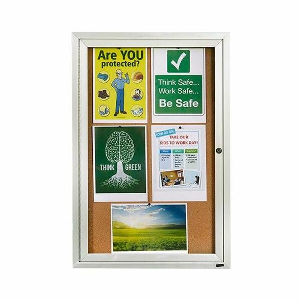 Quartet Enclosed Board Cork 600x900mm 1 Door QT2363