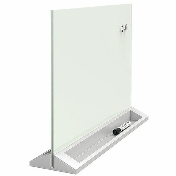 Quartet Glass Board Desktop Magnetic Dry Erase Panel QTGDP1723W