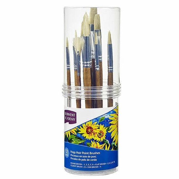 DERWENT Academy Hogs Hair Paint Brush Cylinder Set Small 6Pack R310365