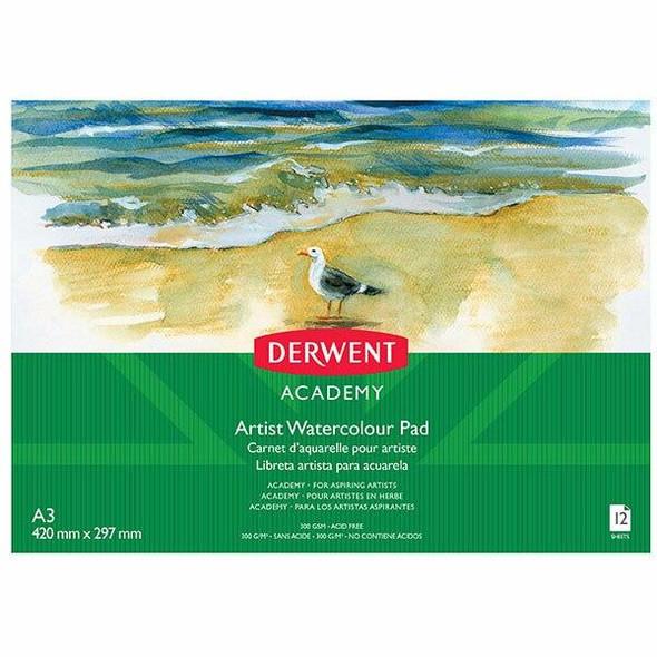DERWENT Academy Watercolour Pad Landscape A3 12 Sheets Pdq X CARTON of 5 R310450