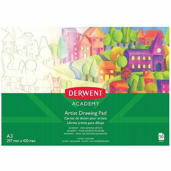 DERWENT Academy Drawing Pad Landscape A3 50 Sheets X CARTON of 5 R310480