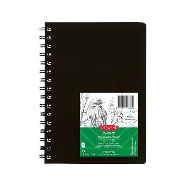 DERWENT Academy Visual Art Diary Portrait 120 Pages Black A5 X CARTON of 5 R31070F