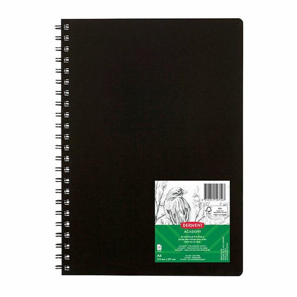 DERWENT Academy Visual Art Diary Portrait 120 Pages Black A4 X CARTON of 5 R31075F