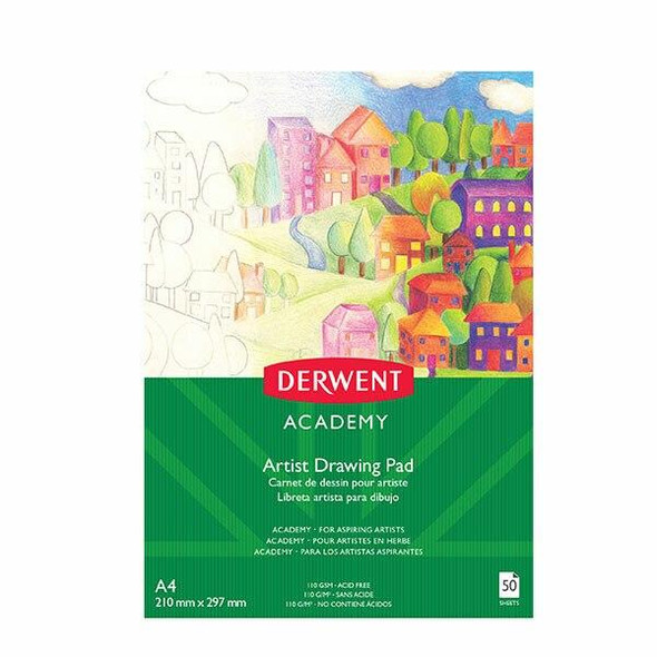 DERWENT Academy Drawing Pad A4 Portrait 50 Sheets X CARTON of 5 R31215F