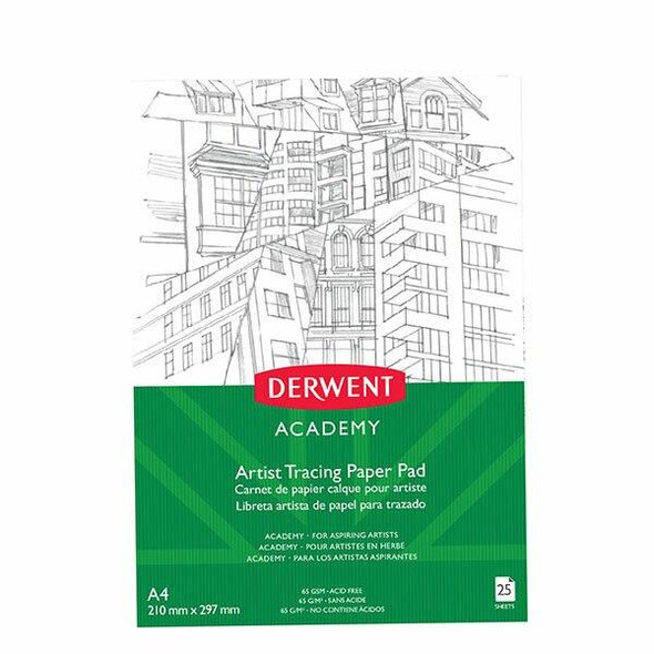DERWENT Academy Tracing Paper Pad A4 Portrait 25 Sheets X CARTON of 5 R31235F