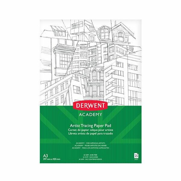DERWENT Academy Tracing Paper Pad A3 Portrait 25 Sheets X CARTON of 5 R31240F