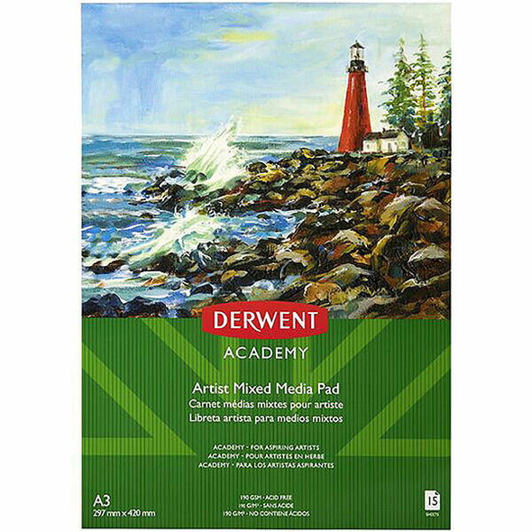 DERWENT Academy Mixed Media Pad A3 X CARTON of 5 R31355F