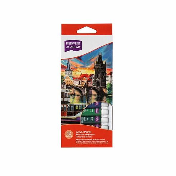 DERWENT Academy Acrylic Paint 12ml 12Pack X CARTON of 6 R33000