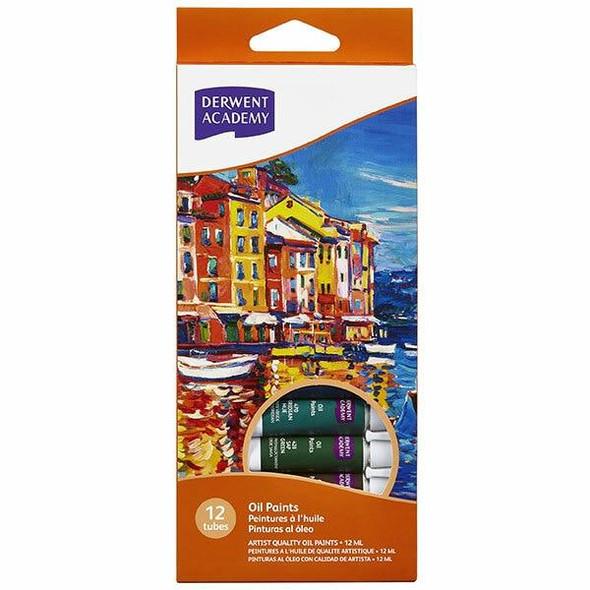 DERWENT Academy Oil Paint 12ml 12Pack X CARTON of 6 R33025