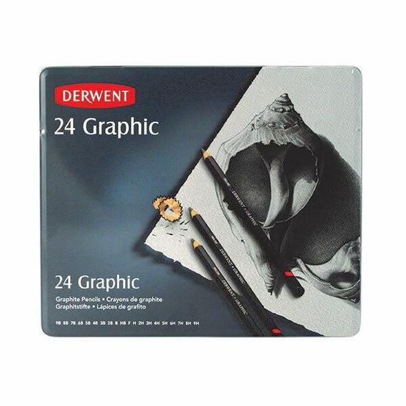 DERWENT Graphic Pencil All Grades Tin 24 X CARTON of 3 R34202