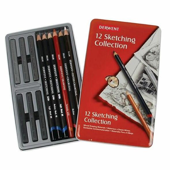 DERWENT Sketching Mixed Media Tin 12 X CARTON of 6 R34305