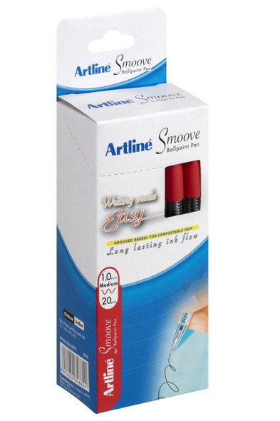 Artline Smoove Ballpoint Stick Medium Red Box20 SM1821202