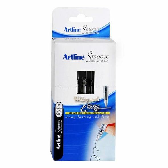 Artline Smoove Ballpoint Stick Medium Black Box50 SM1821501