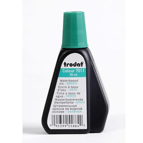 Trodat 7011 Stamp Pad Ink 28ml Green X CARTON of 10 T70115