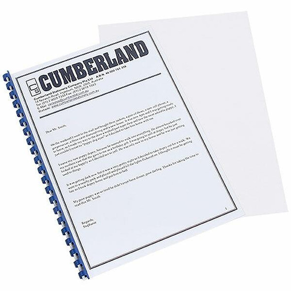 CUMBERLAND Binding Covers 200 Micronron A3 297 X 420mm Clear OMBSA3L