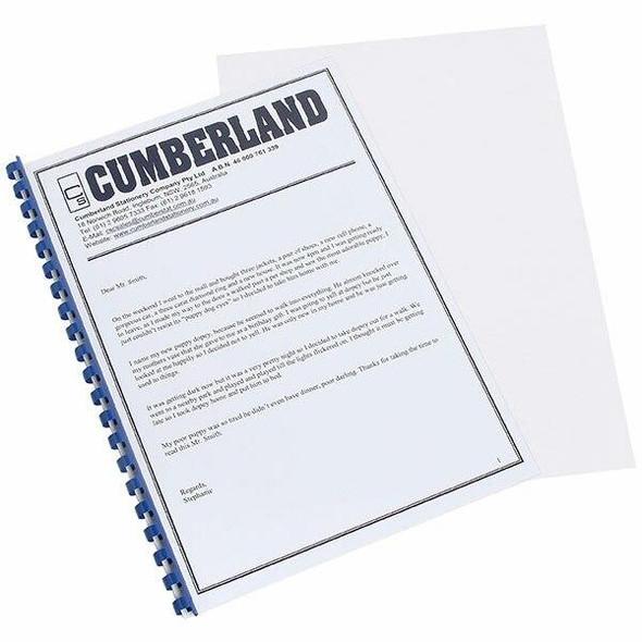 CUMBERLAND Binding Covers 200mic A4 210 X 297mm Clear Pack100 OMBSA4L