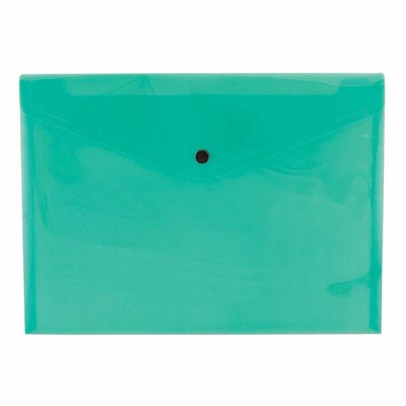 CUMBERLAND Document Wallet A4 Transparent Green Pack12 141378
