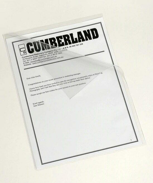 CUMBERLAND Letter File A4 Side and Top Opening Clear Pack 7198