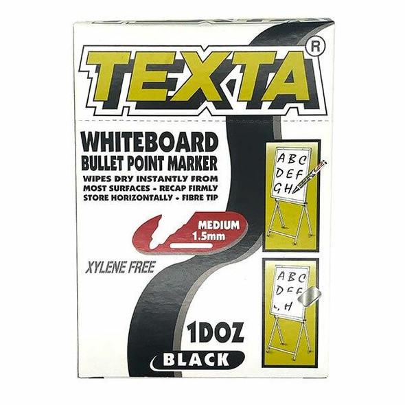 TEXTA Whiteboard Marker Black Box12 0202600