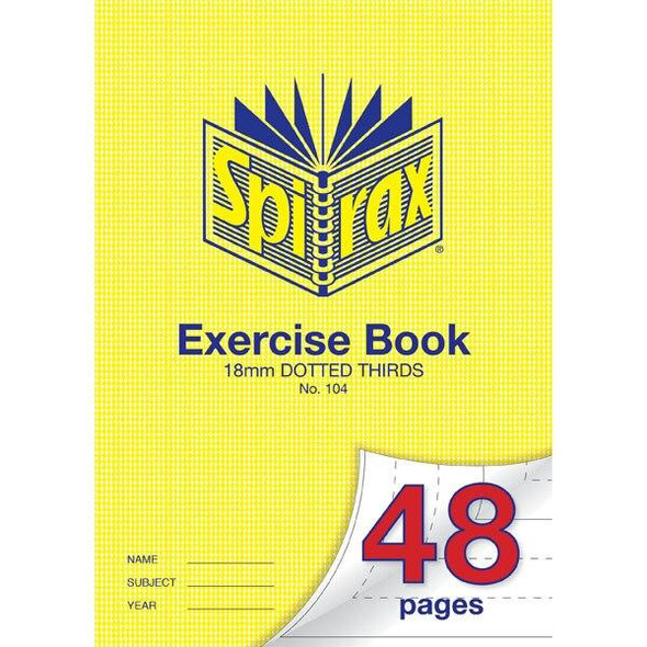 Spirax 104 Exercise Book 48 Page A4 18mm Dotted Thirds X CARTON of 20 56104