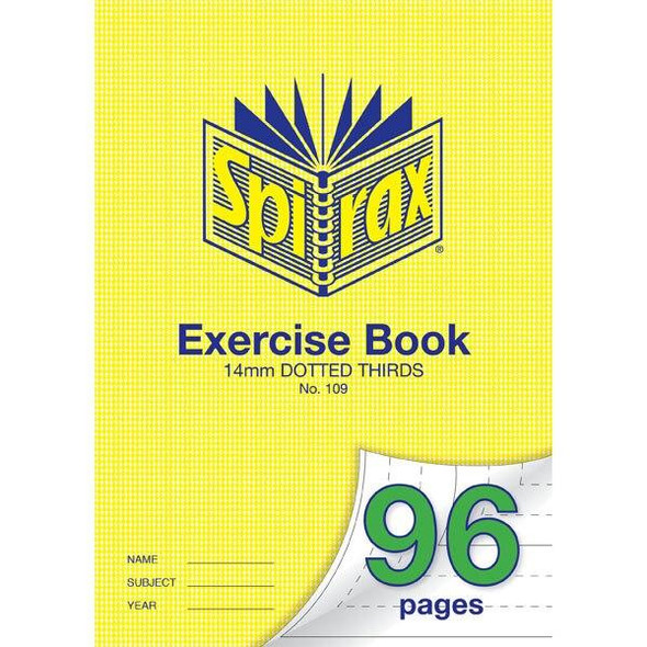 Spirax 109 Exercise Book 96 Page A4 14mm Dotted Thirds X CARTON of 10 56109