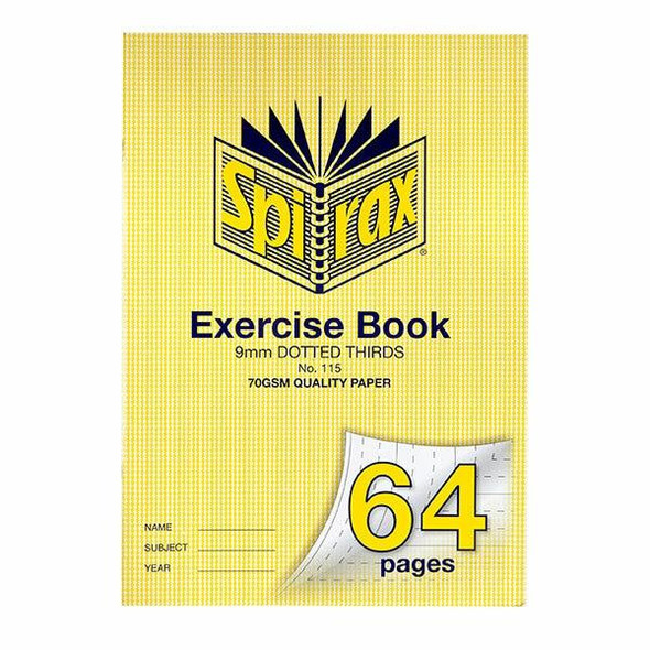 Spirax 115 Exercise Book A4 64 Page 9mm Dotted Thirds X CARTON of 20 56115