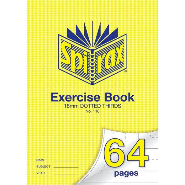 Spirax 116 Exercise Book 64 Page A4 18mm Dotted Thirds X CARTON of 20 56116