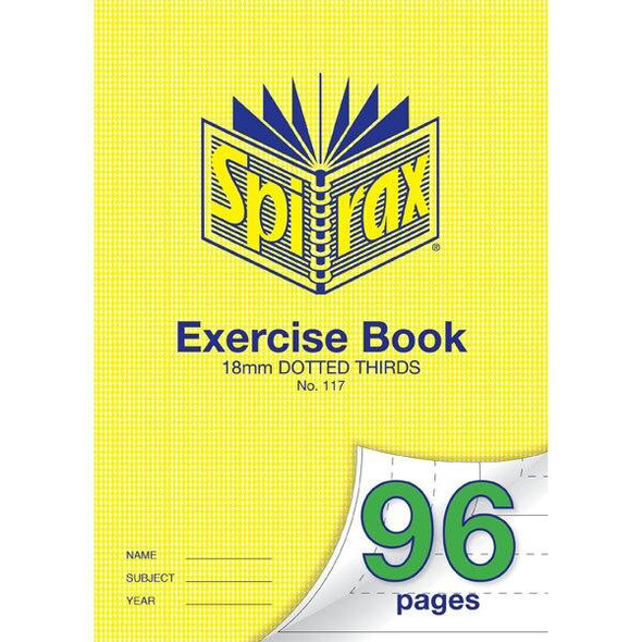Spirax 117 Exercise Book 96 Page A4 18mm Dotted Thirds X CARTON of 10 56117